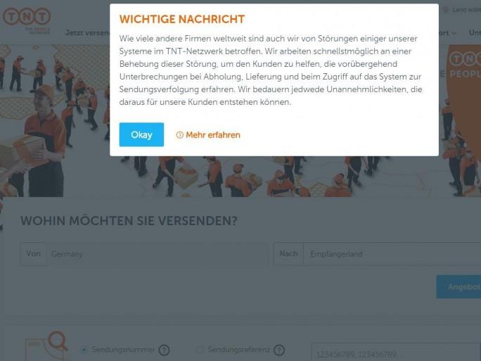TNT Express weist auf seiner Website auf Einschränkungen aufgrund eines Hackerangriffs hin (Screenshot: ZDNet.de)