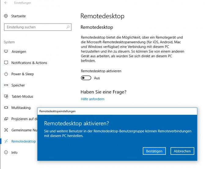 Remotedesktop-Einstellungen lassen sich auch in der Einstellungs-App von Windows 10 vornehmen (Screenshot: Thomas Joos).