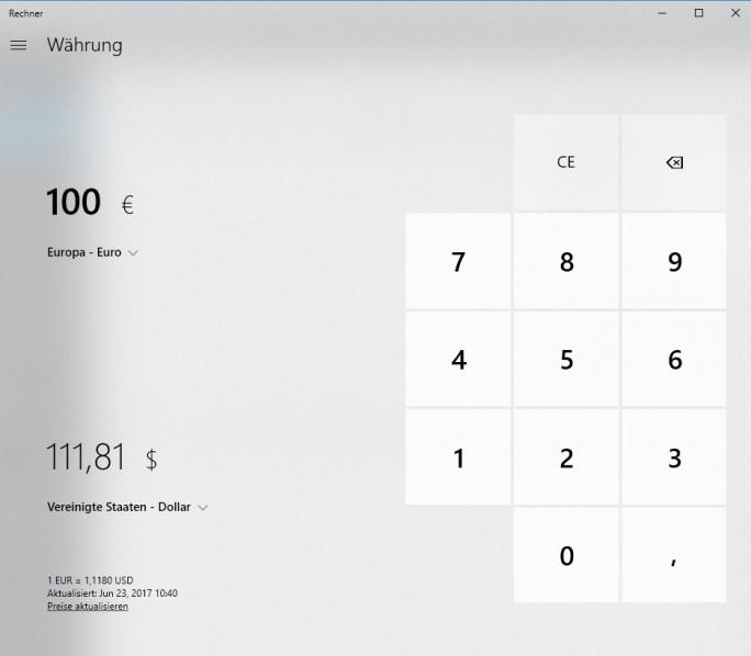 Mit einem Währungsrechner kann Windows 10 auch aufwarten (Screenshot: Thomas Joos).