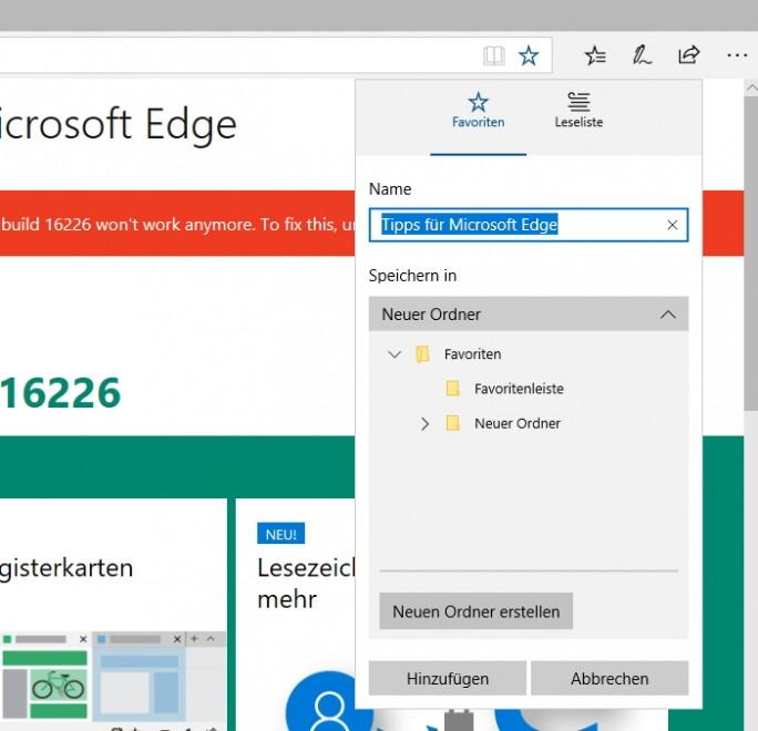 Die Verwaltung der Favoriten ist in Windows 10 16215 deutlich einfacher und effektiver (Screenshot: Thomas Joos).
