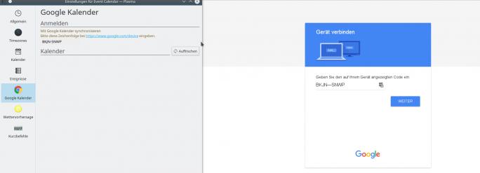 Event Calender Plasma: Bei Google-Calendar autorisieren (Screenshot: ZDNet.de)