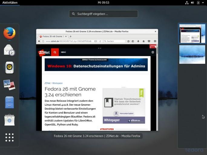 Fedora 26: Firefox ist vorinstalliert (Screenshot: ZDNet.de)