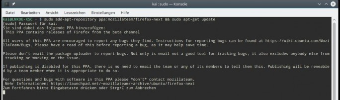 Linux Mint: Paketquelle für Firefox beta hinzufügen (Screenshot: ZDNet.de)