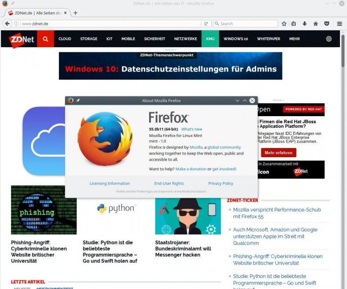 Firefox 55 soll schneller als Vorgängerversion sein (Bild: ZDNet.de)