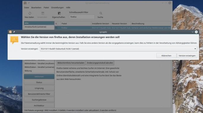 Linux Mint: Firefox 55 mit Synaptics-Paketverwaltung auswählen (Screenshot: ZDNet.de)