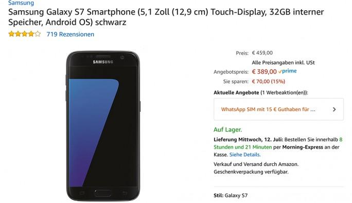 Amazon Prime Day: Galaxy S7 für 389 Euro (Screenshot: ZDNet.de)