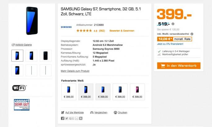 Galaxy S7: Saturn bietet das Smartphone für 399 Euro an (Screenshot: ZDNet.de)