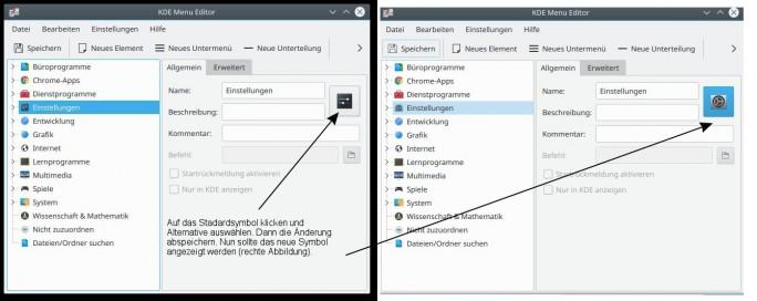 KDE Menu Editor: Symbol austauschen (Bild: ZDNet.de)