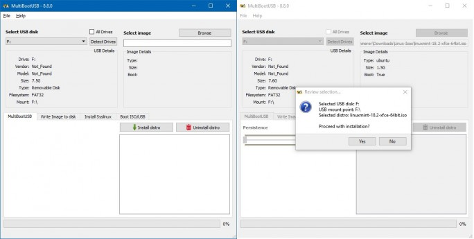 MultiBootUSB: ISO auswählen und installieren (Screenshot: ZDNet.de)