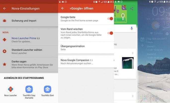 Nova Launcher 5.3 unterstützt mit der Nova-Google-Companion-App die Anzeige von Google Now (Screenshot: ZDNet.de)