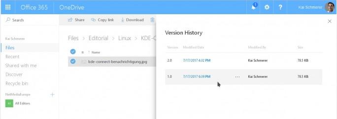 OneDrive-Historie (Screenshot: ZDNet.de)