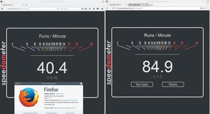 Firefox 55: Speedometer-Test (Bild: ZDNet.de)