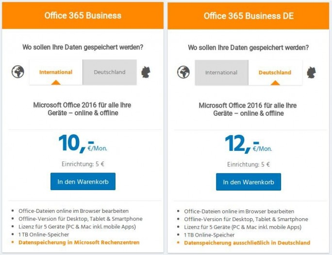 Strato mit Office 365 auf deutshen Servern (Screenshot: ZDNet.de)