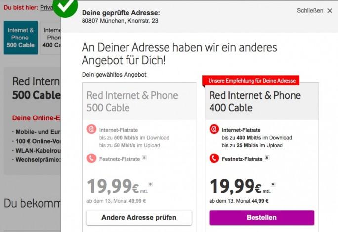 Vodafone-Kabel mit 500 MBit/s (Screenshot: ZDNet.de)