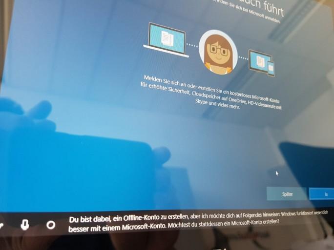 Windows 10 Creators Update: Cortana drängt auf ein Microsoft-Konto (Bild: ZDNet.de)