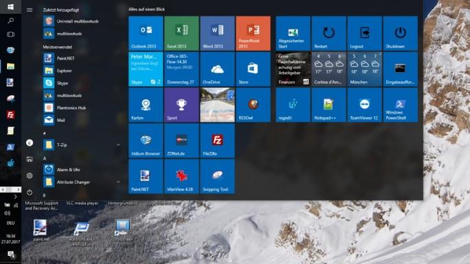 Windows 10: Selbst definiertes Startmenü (Screenshot: ZDNet.de)