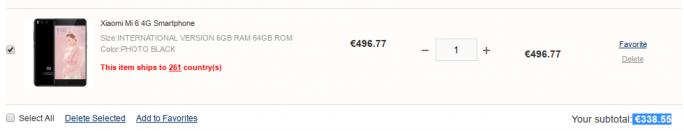 """Xiaomi MI 6: Mit dem Rabattcode """"Mi6zdnet"""" kostet das Smartphone bei Gearbest weniger als 340 Euro (Screenshot: ZDNet.de)"""