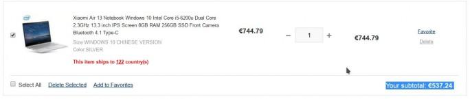 Xiaomi Mi Notebook Air 13.3 (2016) ist für unter 540-Euro erhältlich (Screenshot: ZDNet.de)