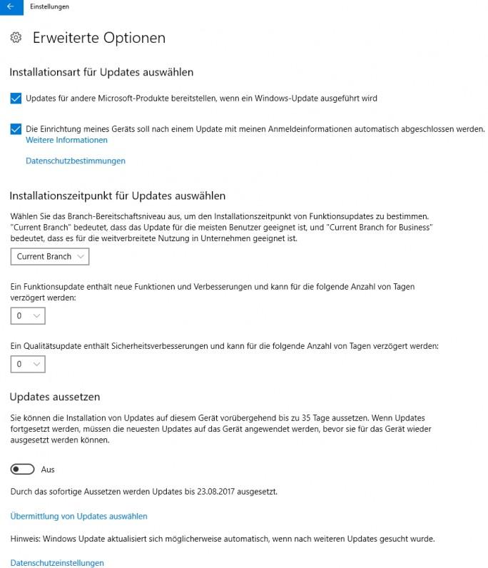 In den Update-Einstellungen lassen sich die Verteilungsringe definieren, aber auch über Gruppenrichtlinien (Screenshot: Thomas Joos).