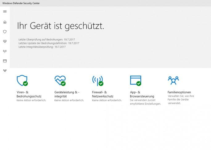 Das Windows Defender Security Center bietet einen Überblick zur Sicherheit des Rechners (Screenshot: Thomas Joos).