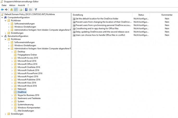 OneDrive lässt sich in Windows 10 umfassend mit Gruppenrichtlinien steuern (Screenshot: Thomas Joos).