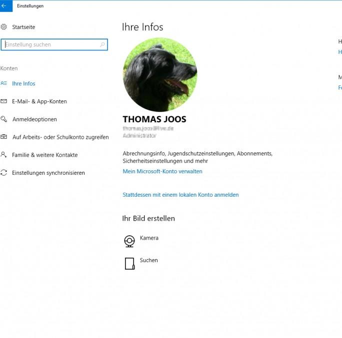 Microsoft-Konten sind auf Firmenrechnern nicht immer sinnvoll (Screenshot: Thomas Joos).