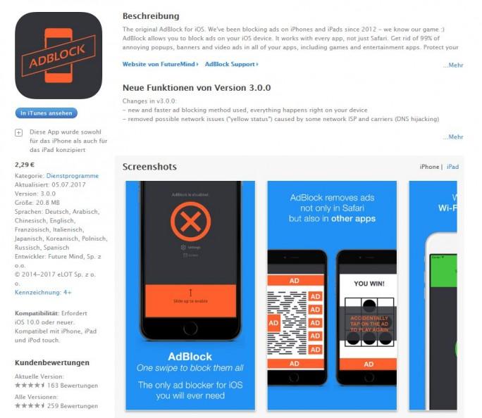 AdBlock von FutureMind blockiert Werbung nicht nur in Safari, sondern auch in Apps von Drittanbietern - was laut Apple verboten ist (Screenshot: ZDNet.de).
