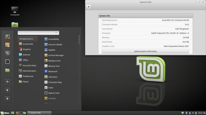 Linux Mint 18.2 Cinnamon (Screenshot: J. A. Watson / ZDNet.com)