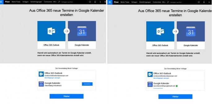 Office 365: Eine Flow-Vorlage sorgt für eine Aktualisierung von Kalenderevents in Google Calendar (Bild: ZDNet.de)