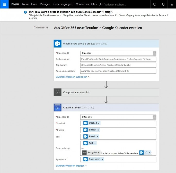 Office 365: Flow-Vorlage konfigurieren (Bild: ZDNet.de)