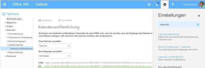 Office 365: Über den ICS-Link Kalender in Google einbinden (Screenshot: ZDNet.de)