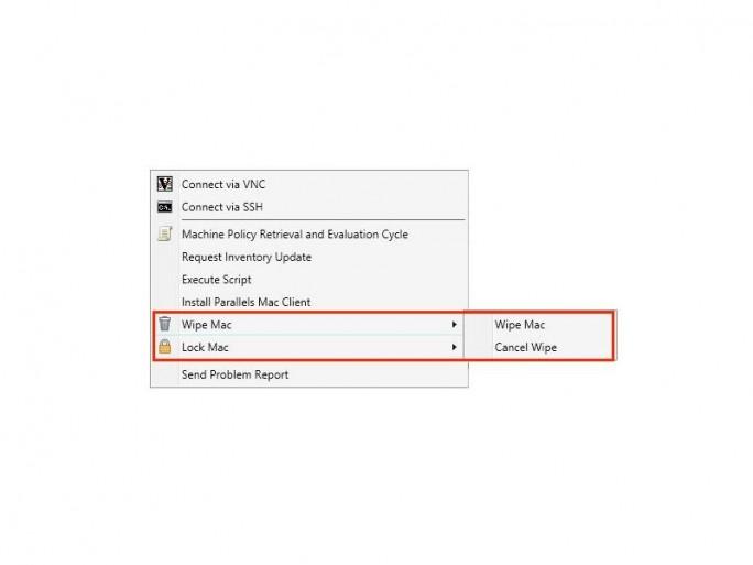 Parallels Mac Management 6 erlaubt es, Macs zu sperren oder aus der Ferne zu löschen (Screenshot: Parallels).