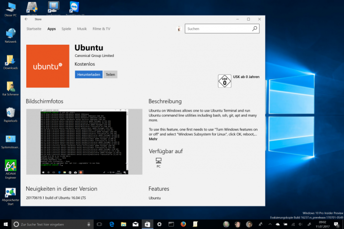 Ubuntu unter Windows (Screenshot: ZDNet.de)
