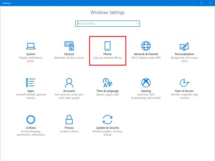 Windows 10 erlaubt es künftig, Android-Smartphones und iPhones mit Windows-PCs zu verbinden (Bild: Microsoft).
