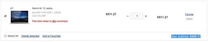 Gearbest: Xiaomi Mi Notebook Air 12.5 für 425 Euro (Screenshot: ZDNet.de)