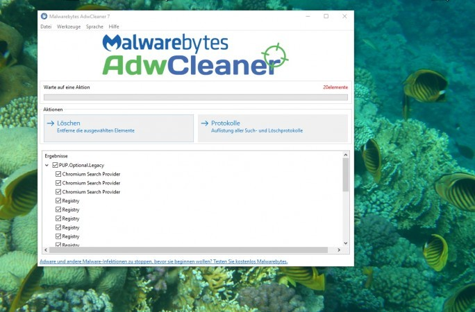 AdwCleaner kann verschiedene Angreifer entfernen (Screenshot: Thomas Joos).