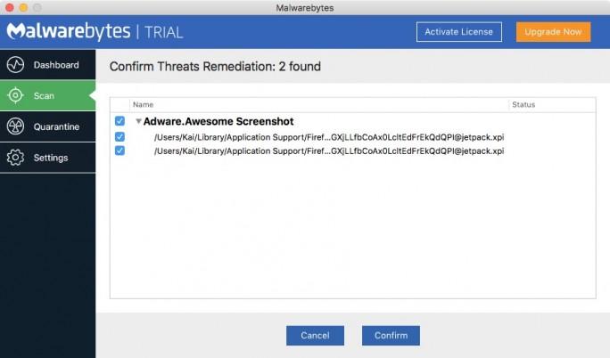 Malwarebytes Mac Scan(Bild: ZDNet.de)