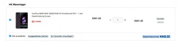 OnePlus 5 mit 8 GByte RAM und 128 GByte Speicher für 442 Euro (Screenshot: ZDNet.de)