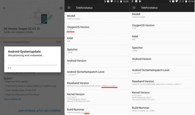 One Plus 5: Oxygen 4.5.10 (Screenshot: ZDNet.de)