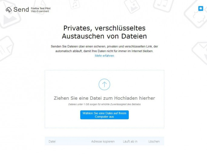 Firefox Send ermöglicht den Austausch von bis zu einem Gigabyte großen Dateien (Screenshot: ZDNet.de).