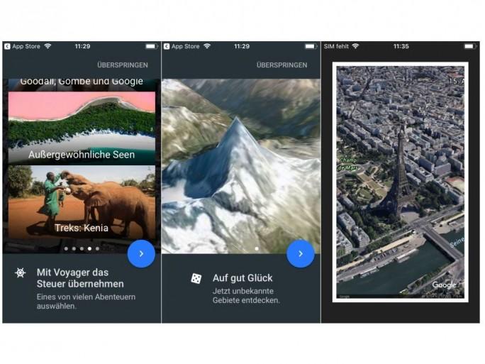 Google hat Google Earth für iOS nicht nur um Support für 64-Bit-Prozessoren erweitert, sondern der App auch neue Funktionen wie Voyager, Auf gut Glück und Postkarten spendiert (Screenshots: ZDNet.de).