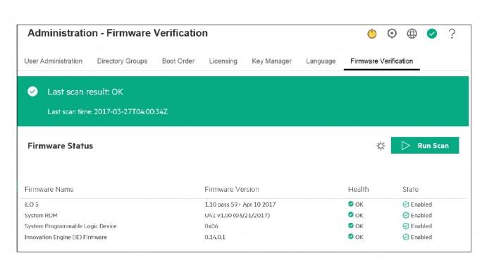 Mehr Sicherheit mit iLO 5 (Screenshot: HPE).