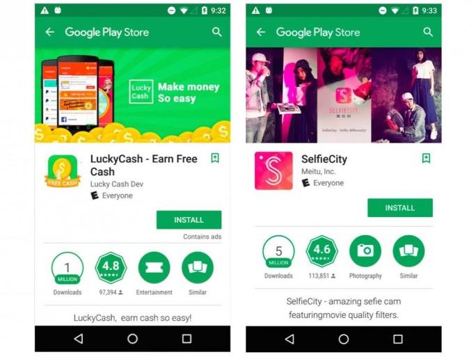 Lookout hat das schädliche Werbe-SDK Igexin unter anderem in den Apps LuckyCash und SelfieCity entdeckt (Screenshot: Lookout).