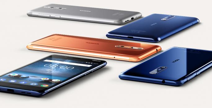Das Nokia 8 ist in den Farben Stahlgrau, Tampered Blue, Polished Copper und Polished Blue erhältlich (Bild: HMD Global).