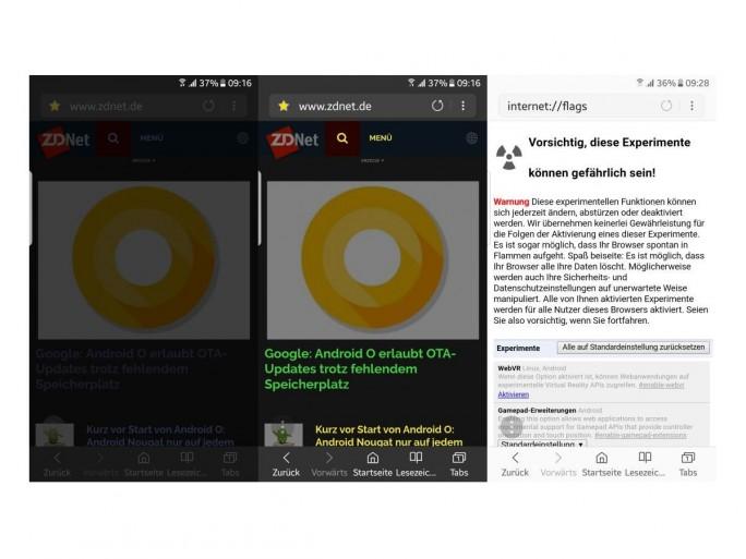 Samsung Internet Beta bietet einen Nachtmodus (links) und einen Modus für hohen Kontrast (mitte). Optional lassen sich auch Funktionen wie WebVR freischalten (Screenshot: ZDNet.de).