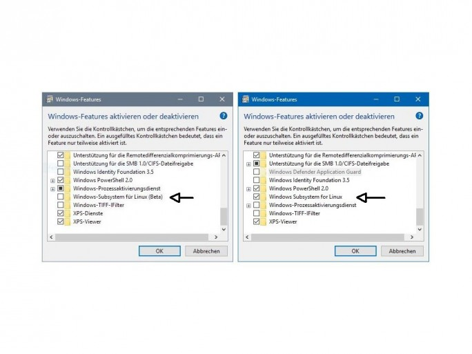 """Im Insider Build 16251 wird das Windows Subsystem for Linux ohne den Zusatz """"Beta"""" angezeigt (Screenshot: ZDNet.de)."""