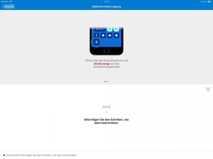 TeamViewer QuickSupport unter iOS 11 auf dem iPad (Bild: ZDNet.de)