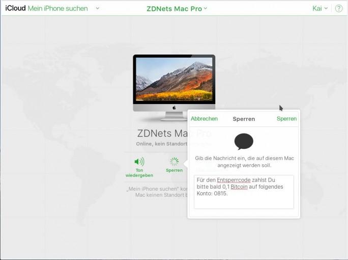 Apple iCloud: Mac sperren (Bild: ZDNet.de)