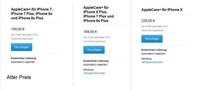 Die erweiterte Garantie AppleCare ist um 20 Euro teurer geworden (Screenshot: ZDNet.de).