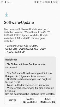 Galaxy S7: August-Update (Screenshot: ZDNet.de)